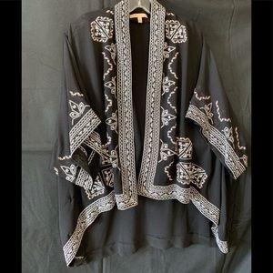 Black Hi/Low Embroidered Open Cardigan #C39